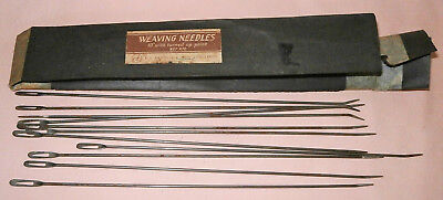 """11 x Vintage 10"""" Curved Turned Up Point Weaving Needles in Original Packet"""