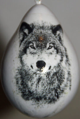 gourd Christmas ornament with wolf