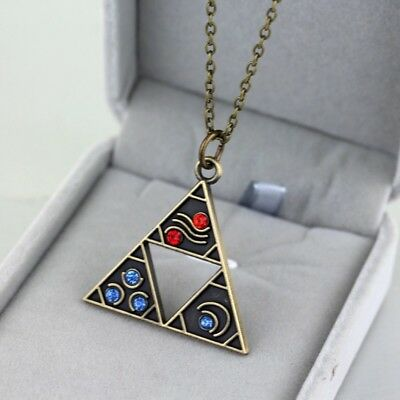 Legend Of Zelda BOTW Bronze Triforce Metal Charm Necklace Link Between Worlds