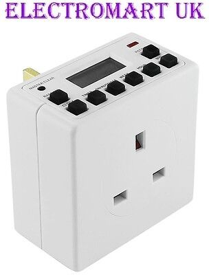 Plug In 13A Digital Electronic Lcd Timer Switch 24 Hour 7 Day Programmable