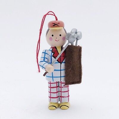 Vintage 1970s Collectible Golfer w Clubs - Hand Painted Wood Ornament Taiwan