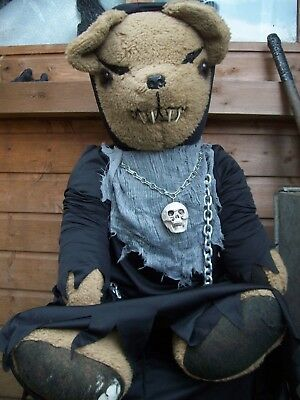 Large Vintage Haunted Creepy Jointed Teddy Bear Halloween Prop.35 Inches Tall
