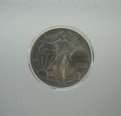2009 BU Uncirculated 1 oz Silver American Eagle Coin In Capsule - Item# 5533