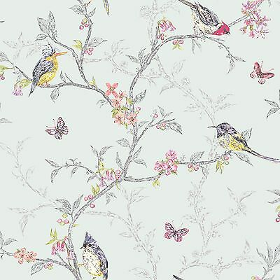 PHOEBE BIRDS WALLPAPER SOFT TEAL by HOLDEN DECOR (98083) NEW