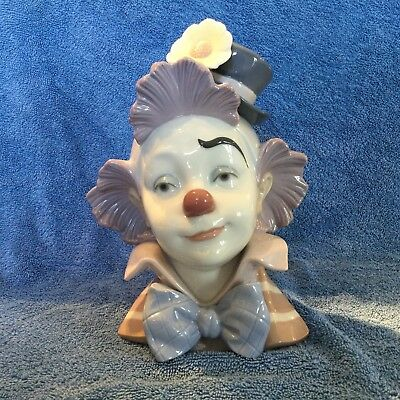 """Lladro """"star Struck"""" #5610 Funny Circus Clown Bust Mint Condition"""