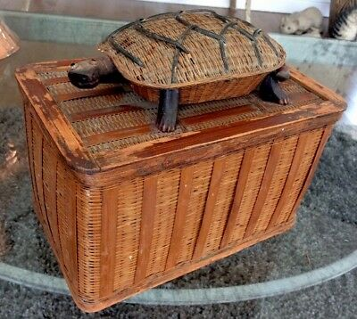 Interesting Old Chinese Fine Woven Covered Basket Box Turtle Finial Handle RARE!