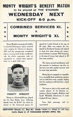 ADVERTISING FLYER for Combined Services v Monty Wright X1 @ Chester 1956
