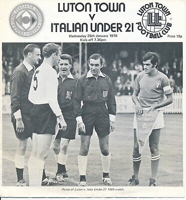 Luton Town v Italy Under 21 (Friendly) 1978