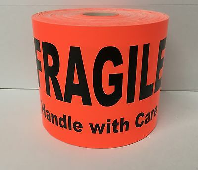 100 Large Labels 4x6 Br/Red FRAGILE Handle with Care Shipping Pallet Stickers