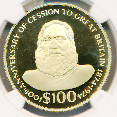 Fiji GOLD 100 Dollars 1974 Cession to Great Britain - NGC PF 69 ULTRA CAMEO