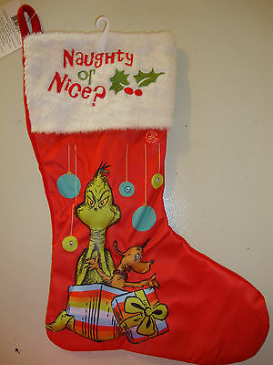 """Dr Suess The Grinch & Max """"naughty Or Nice???"""" Christmas Stocking Lights Up Nwt"""