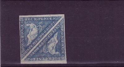 Cape triangles 4d blue in MH pair both 4 margins, with about 75% gum cat £2000+