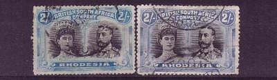 Rhodesia double heads 2/- shades fu min cat £160