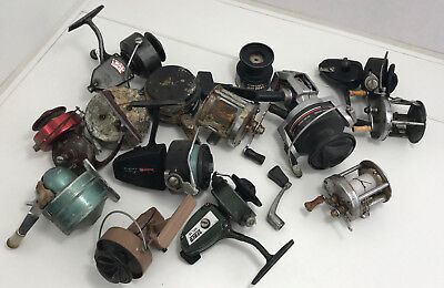 Lot of 13 Fishing Reels Various makers vintage great lot here for Parts / Repair