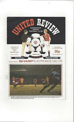 Manchester United v Spartak Varna Cup Winners Cup Football Programme 1983/84