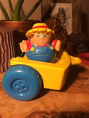 1995 Weeble Wobble Farmer & Cart !! Vintage!!