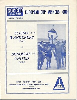 Sliema Wanderers v Borough Utd (Cup Winners Cup) 1963/4