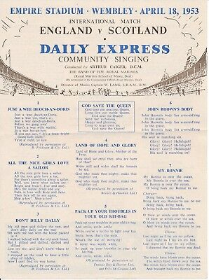 SONGSHEET: England v Scotland (Home International) 1953