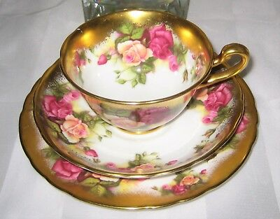 Royal Chelsea -  Golden Rose - Teacup, Saucer and Plate