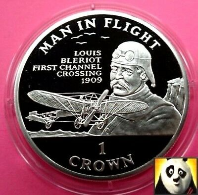 1994 ISLE OF MAN 1 One Crown Louis Bleriot Channel Crossing Silver Proof Coin