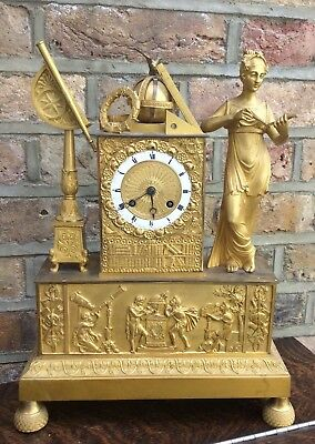 FRENCH BRONZE CLOCK CELEBRATING 'THE SCIENCES' circa 1840