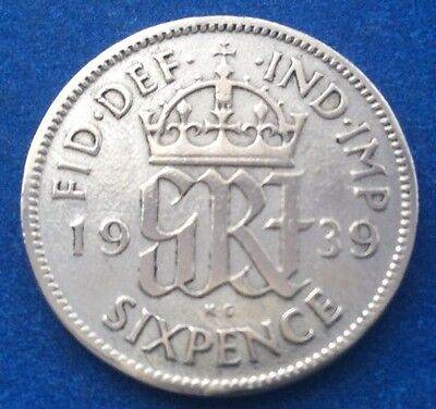 1939 King George Vi Silver Sixpence Coin