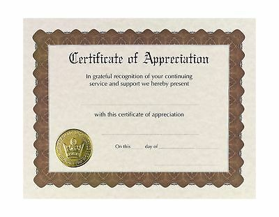 "Great Papers! Certificate of Appreciation Pre-Printed Gold Foil Embossed 8.5""..."