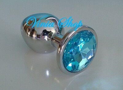 Plug Metal Butt Stainless Steel Crystal Light Blue Azul Anal Talla L Large Size