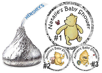 108 Classic Winnie The Pooh Baby Shower Favors Hershey Kiss Kisses Labels