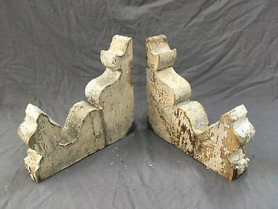 Pair Antique Corbels Roof Brackets Gingerbread Shabby Cottage Vtg Chic 709-17E