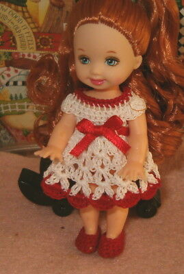 Kelly Doll Dress and Slipper set White and Red