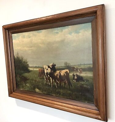 Antique Signed 1885 Listed Atherton Furlong Countryside Original Oil Painting