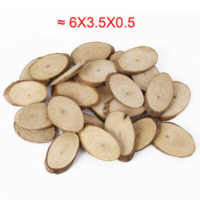 25x Wooden Bark Tree Slices Oval Shaped Wood Craft 5cm Paint Scene Brown