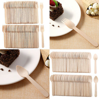 200 x Disposable Birch Wood Tea Spoon Folk (Natural, Eco-Friendly, Compostable)