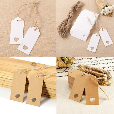 100X White/brown Kraft Paper Tags Gift Tag Wedding Gift Label Name Card Bookmark