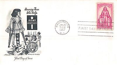 United States Fight Infant Paralysis First Day Cover 1957