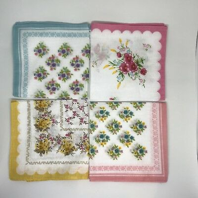 8 Vintage Hankies Handkerchiefs Pretty Floral Pink Blue Yellow Retro