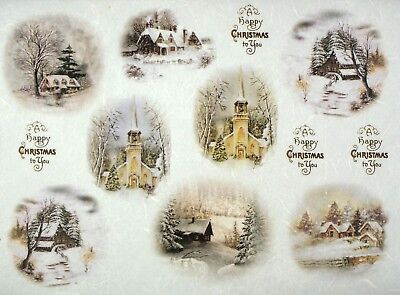 Rice paper -Christmas Village- for Decoupage Scrapbooking Sheet