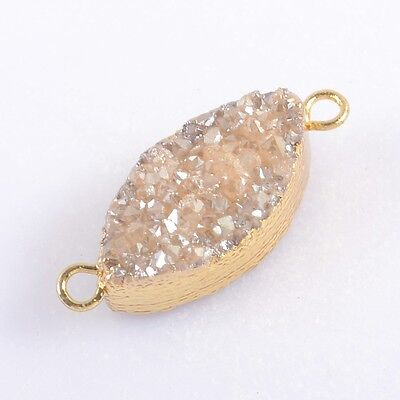 Natural Agate Titanium Druzy Connector Gold Plated H96808