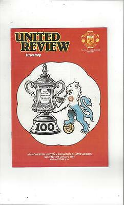 Manchester United v Brighton FA Cup 1980/81 Football Programme