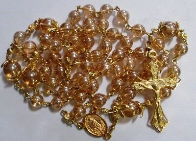 Stunning Golden Brazilian Crystal, Gold Caps & Spacers Handmade Catholic Rosary