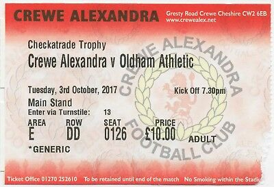 2017-18-CREWE ALEX v OLDHAM ATHLETIC-3/10/17-CHECKATRADE TROPHY-GROUP D TICKET