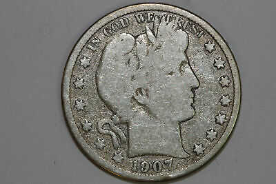 Grades Very Good 1907 O Barber 90% Silver Half Dollar (BARH104)