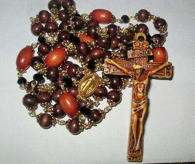 "Natural Wood Rounds & Ovals, Beautiful 3"" Crucifix Handmade Catholic Rosary"