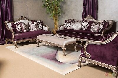 Lisette Antique Style Carved Wood Royal Purple Fabric Sofa Loveseat In Silver