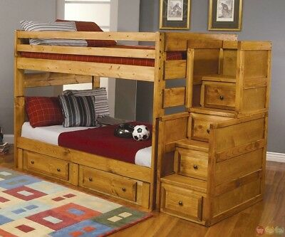 Wrangle Full Over Full Solid Wood Bunk Bed w/ Storage Steps Stairs Amber Finish