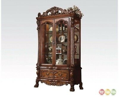 Dresden Traditional 3-shelf Curio Cabinet W/glass Doors In Cherry Oak