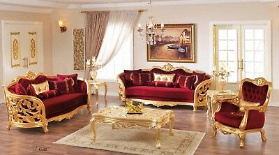 Monique Victorian Ruby Red Luxury Living Room Furniture Set Gold