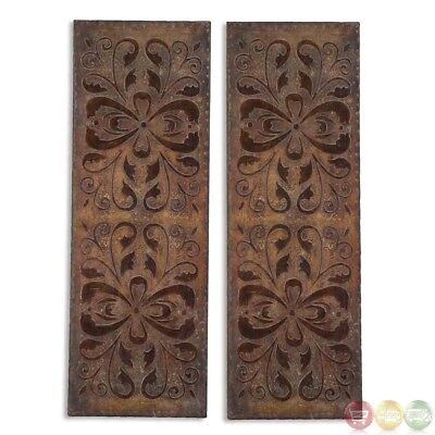 Set of 2 Alexia Scroll Work Antiqued Rust Brown Art Panel 13643