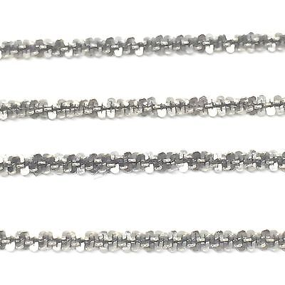 ITALY 9K 375 Solid White Gold 1.5mm Twisted Serpentine Chain Anklet 26cm